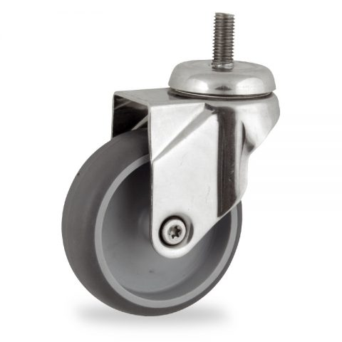 Stainless swivel castor 100mm for light trolleys,wheel made of grey rubber,double ball bearings.Bolt stem fitting