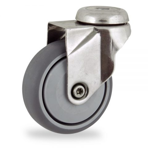 Stainless swivel castor 125mm for light trolleys,wheel made of grey rubber,single precision ball bearing.Bolt hole fitting