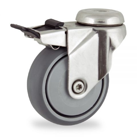 Stainless total lock castor 125mm for light trolleys,wheel made of grey rubber,single precision ball bearing.Bolt hole fitting
