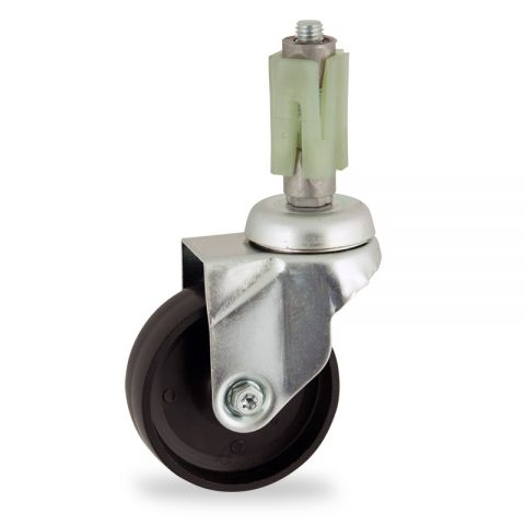 Zinc plated swivel castor 100mm for light trolleys,wheel made of polypropylene,plain bearing.Fitting with square expander 24/27
