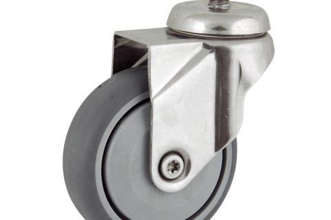 Stainless swivel castor 100mm for light trolleys,wheel made of grey rubber,single precision ball bearing.Bolt stem fitting