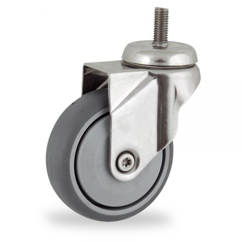 Stainless swivel castor 75mm for light trolleys,wheel made of grey rubber,single precision ball bearing.Bolt stem fitting