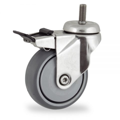 Stainless total lock castor 100mm for light trolleys,wheel made of grey rubber,single precision ball bearing.Bolt stem fitting