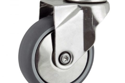 Stainless swivel castor 75mm for light trolleys,wheel made of grey rubber,plain bearing.Bolt hole fitting