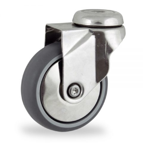 Stainless swivel castor 125mm for light trolleys,wheel made of grey rubber,plain bearing.Bolt hole fitting