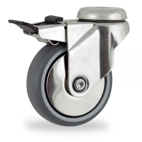 Stainless total lock castor 75mm for light trolleys,wheel made of grey rubber,plain bearing.Bolt hole fitting
