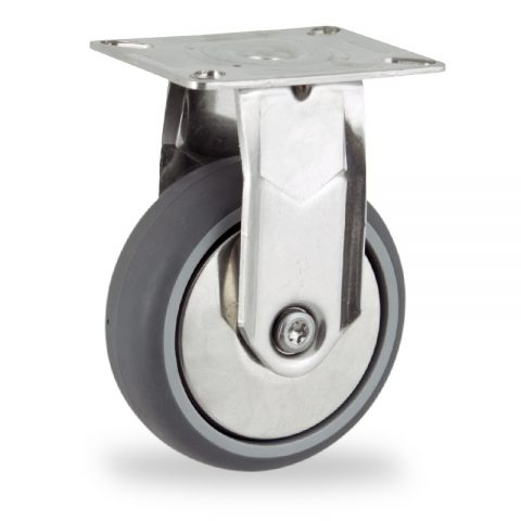 Stainless fixed castor 100mm for light trolleys,wheel made of grey rubber,double ball bearings.Top plate fitting
