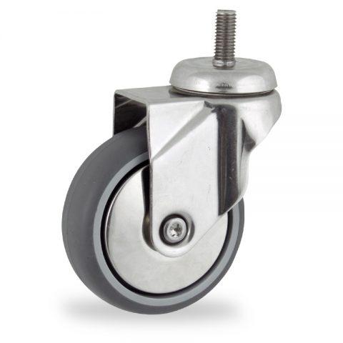 Stainless swivel castor 150mm for light trolleys,wheel made of grey rubber,plain bearing.Bolt stem fitting