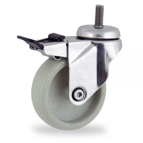 Stainless total lock castor 100mm for light trolleys,wheel made of polyamide with Fiber glass,plain bearing.Bolt stem fitting