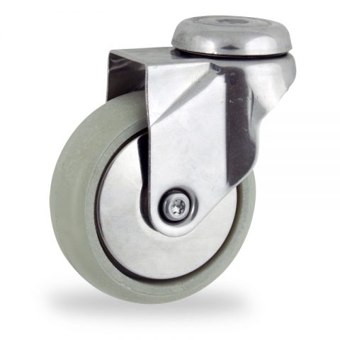 Stainless swivel castor 100mm for light trolleys,wheel made of polyamide with Fiber glass,plain bearing.Bolt hole fitting