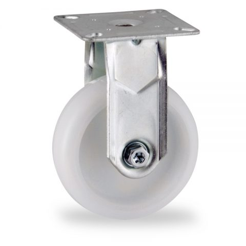Zinc plated fixed castor 75mm for light trolleys,wheel made of polyamide,plain bearing.Top plate fitting