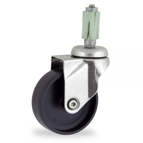 Stainless swivel castor 100mm for light trolleys,wheel made of polypropylene,plain bearing.Fitting with square expander 21/24