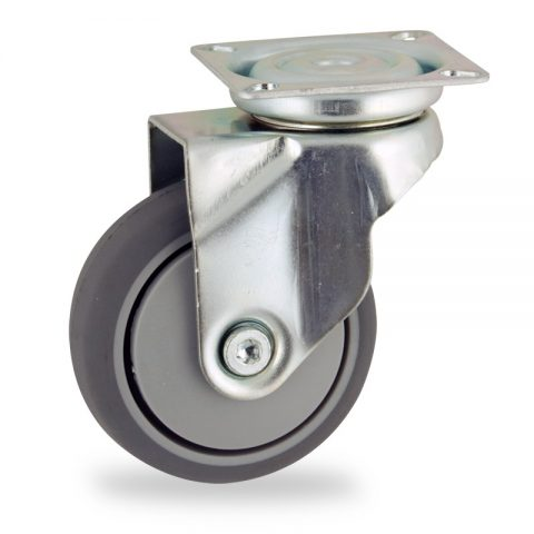 Zinc plated swivel castor 50mm for light trolleys,wheel made of grey rubber,precision bearing.Top plate fitting