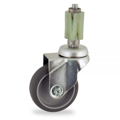 Zinc plated swivel castor 100mm for light trolleys,wheel made of grey rubber,double ball bearings.Fitting with square expander 31/35