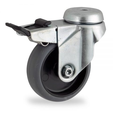Zinc plated total lock castor 75mm for light trolleys,wheel made of grey rubber,plain bearing.Bolt hole fitting