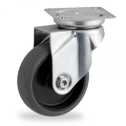 Zinc plated swivel castor 75mm for light trolleys,wheel made of grey rubber,plain bearing.Top plate fitting