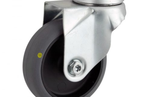 Zinc plated swivel castor 125mm for light trolleys,wheel made of electric conductive grey rubber,double ball bearings.Bolt hole fitting