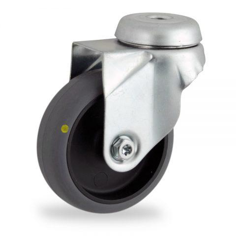 Περιστρεφόμενη ηλεκτροαγώγιμη ρόδα 50mm για καρότσι ελαφρύ,με τροχό από γκρι λάστιχο χωρίς ρουλεμάν.Προσαρμογή με τρύπα.