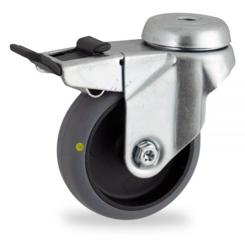 Zinc plated total lock castor 75mm for light trolleys,wheel made of electric conductive grey rubber,plain bearing.Bolt hole fitting