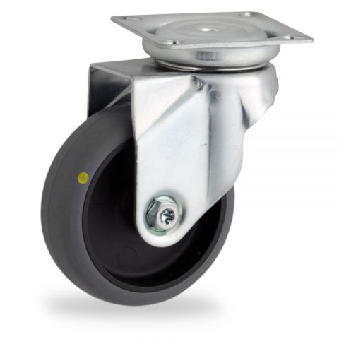 Zinc plated swivel castor 50mm for light trolleys,wheel made of electric conductive grey rubber,plain bearing.Top plate fitting