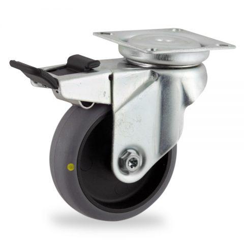 Ρόδα με φρένο αγώγιμη ρόδα 75mm για καρότσι ελαφρύ,με τροχό από γκρι λάστιχο χωρίς ρουλεμάν.Προσαρμογή με πλάκα.