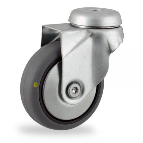 Zinc plated swivel castor 75mm for light trolleys,wheel made of electric conductive grey rubber,plain bearing.Bolt hole fitting