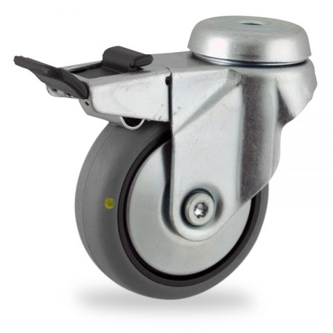 Zinc plated total lock castor 75mm for light trolleys,wheel made of electric conductive grey rubber,double ball bearings.Bolt hole fitting