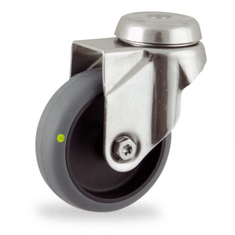 Stainless swivel castor 50mm for light trolleys,wheel made of electric conductive grey rubber,plain bearing.Bolt hole fitting