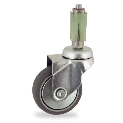 Zinc plated swivel castor 75mm for light trolleys,wheel made of grey rubber,double ball bearings.Fitting with square expander 24/27