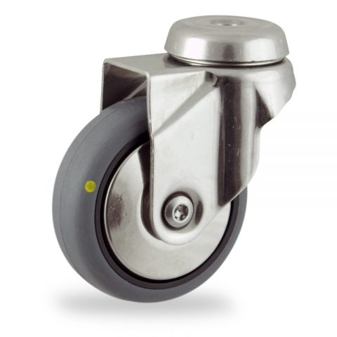 Stainless swivel castor 50mm for light trolleys,wheel made of electric conductive grey rubber,double ball bearings.Bolt hole fitting