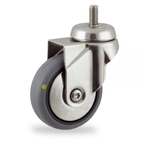 Stainless swivel castor 100mm for light trolleys,wheel made of electric conductive grey rubber,double ball bearings.Bolt stem fitting