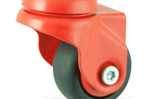 Colouredswivel castor 50mm for light trolleys,wheel made of Black rubber,plain bearing.Bolt hole fitting