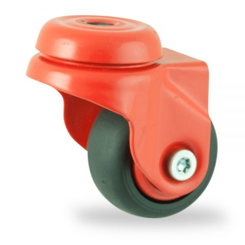 Colouredswivel castor 50mm for light trolleys,wheel made of Black rubber,plain bearing.Bolt hole fitting