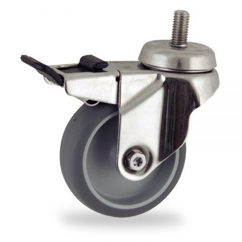Stainless total lock castor 75mm for light trolleys,wheel made of grey rubber,plain bearing.Bolt stem fitting