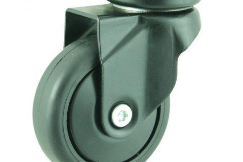Coloured swivel castor 75mm for light trolleys,wheel made of Black rubber,plain bearing.Top plate fitting