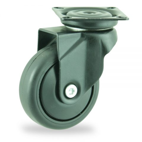 Coloured swivel castor 75mm for light trolleys,wheel made of Black rubber,plain bearing.Top plate fitting