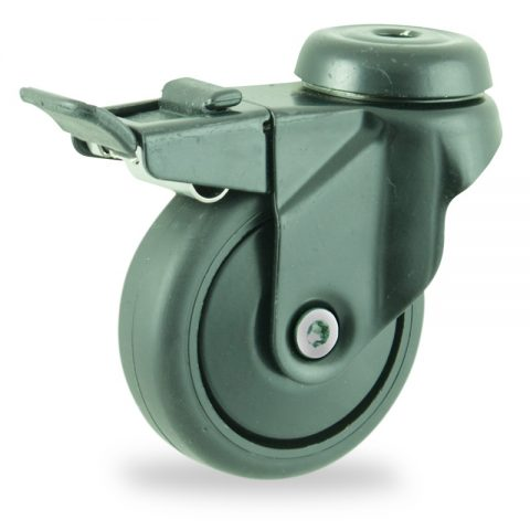 Coloured total lock castor 75mm for light trolleys,wheel made of Black rubber,plain bearing.Bolt hole fitting