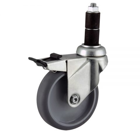 Zinc plated total lock castor 100mm for light trolleys,wheel made of grey rubber,plain bearing.Fitting with round expander