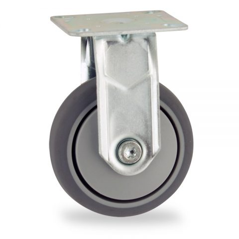 Zinc plated fixed castor 50mm for light trolleys,wheel made of grey rubber,precision bearing.Top plate fitting