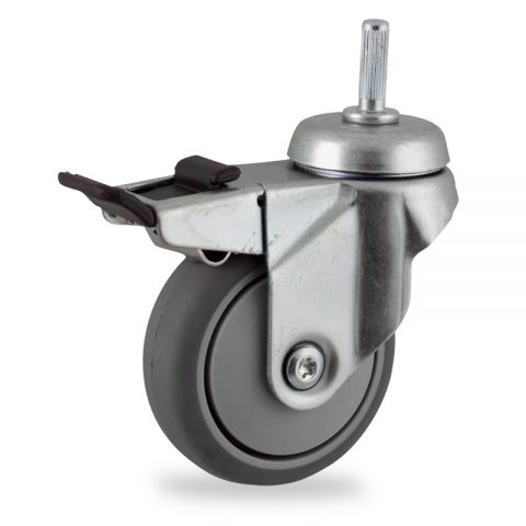 Zinc plated total lock castor 75mm for light trolleys,wheel made of grey rubber,plain bearing.Fitting with round stem 8x25mm