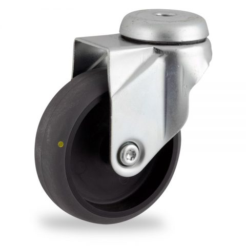 Zinc plated swivel castor 100mm for light trolleys,wheel made of electric conductive grey rubber,plain bearing.Bolt hole fitting