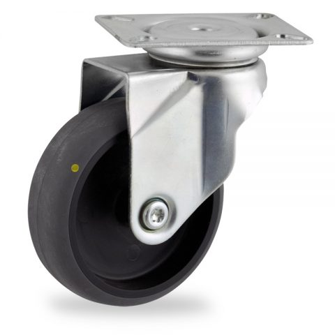 Zinc plated swivel castor 75mm for light trolleys,wheel made of electric conductive grey rubber,plain bearing.Top plate fitting