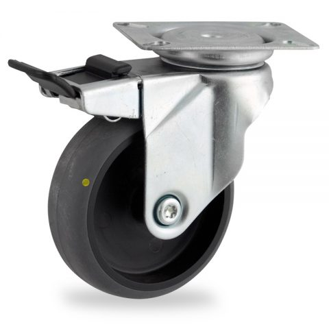 Zinc plated total lock castor 75mm for light trolleys,wheel made of electric conductive grey rubber,plain bearing.Top plate fitting