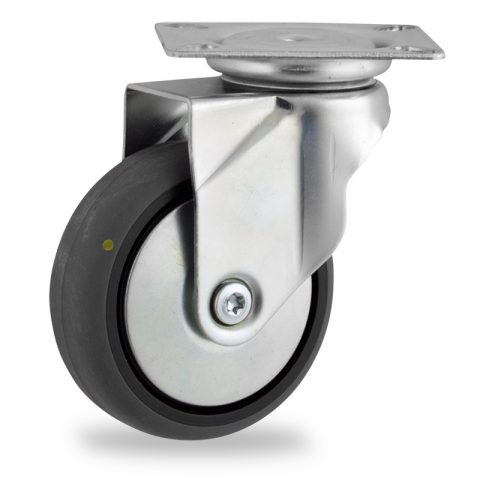 Zinc plated swivel castor 100mm for light trolleys,wheel made of electric conductive grey rubber,plain bearing.Top plate fitting