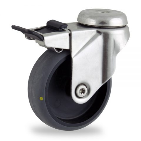 Stainless total lock castor 100mm for light trolleys,wheel made of electric conductive grey rubber,plain bearing.Bolt hole fitting