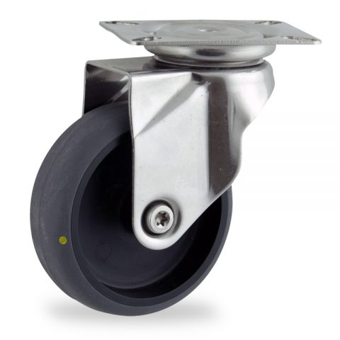 Stainless swivel castor 125mm for light trolleys,wheel made of electric conductive grey rubber,plain bearing.Top plate fitting