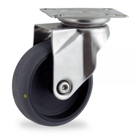 Ανοξείδωτη περιστρεφόμενη αγώγιμη ρόδα 125mm για καρότσι ελαφρύ,με τροχό από γκρι λάστιχο χωρίς ρουλεμάν.Προσαρμογή με πλάκα.