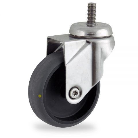 Stainless swivel castor 150mm for light trolleys,wheel made of electric conductive grey rubber,plain bearing.Bolt stem fitting
