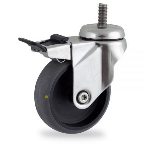 Stainless total lock castor 100mm for light trolleys,wheel made of electric conductive grey rubber,double ball bearings.Bolt stem fitting
