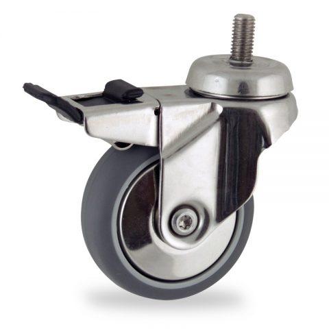 Stainless total lock castor 50mm for light trolleys,wheel made of grey rubber,plain bearing.Bolt stem fitting